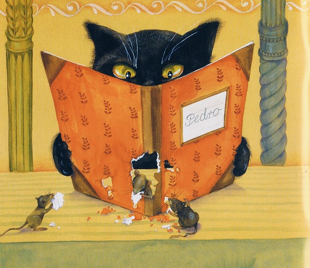 illustration by Polish illustrator Iwona Chmielewska of cat and mice book