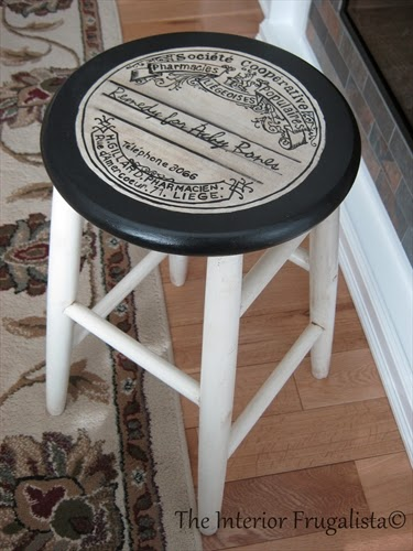 Stool makeover using an apothecary label and chalk paint