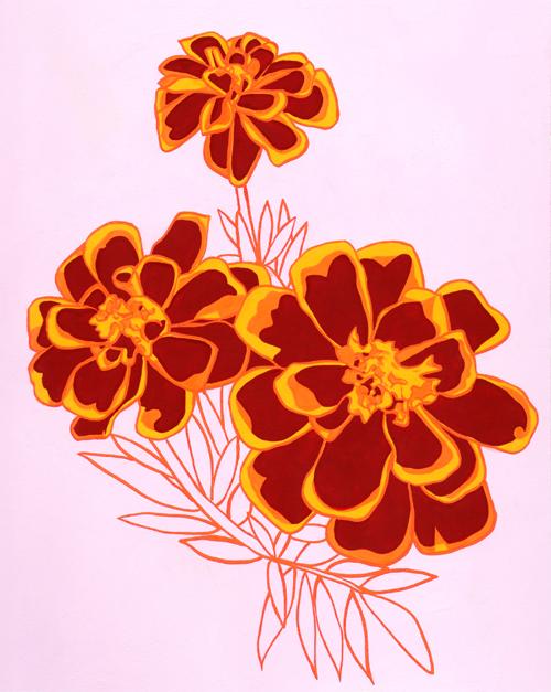 anne appert illustration october marigolds. Black Bedroom Furniture Sets. Home Design Ideas