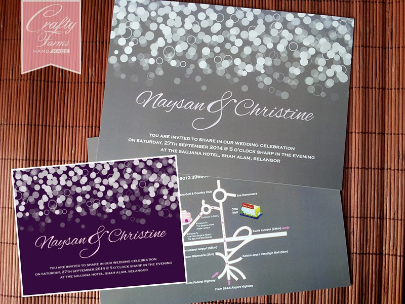 Purple and Grey Confetti Wedding Invitation Card with Map