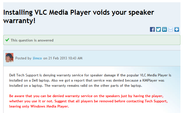 Installing VLC or KM Media Player Voids Your Laptop