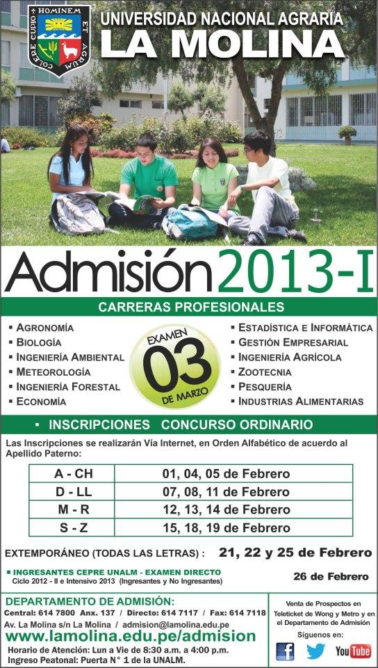 Resultados de Agraria La Molina UNALM 03.03.2013