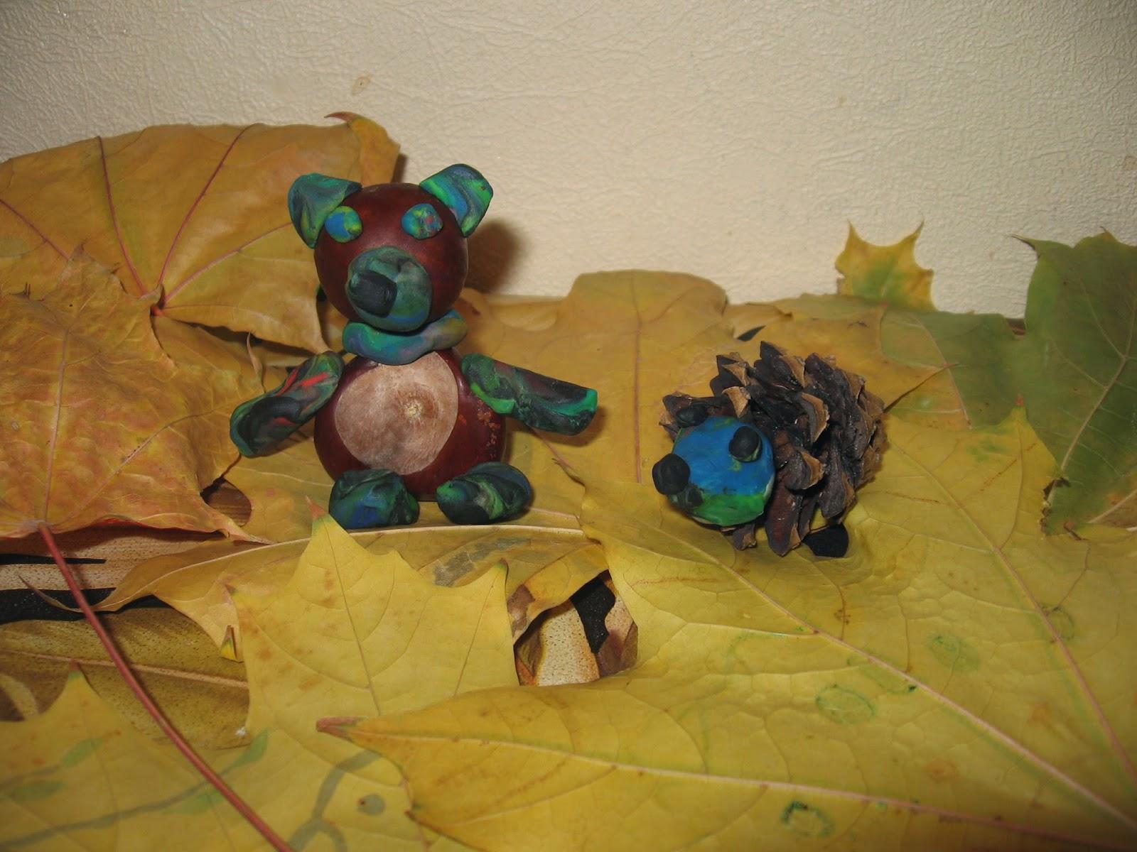 Поделки из желудей из листьев