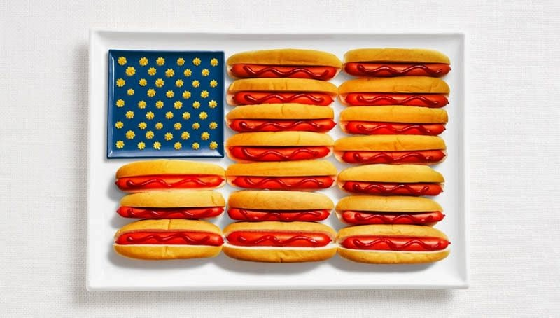 United States - Hot dogs, ketchup, and mustard or cheese