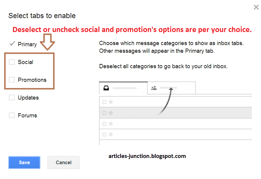 Deselect or uncheck social and promotion's tab in Gmail