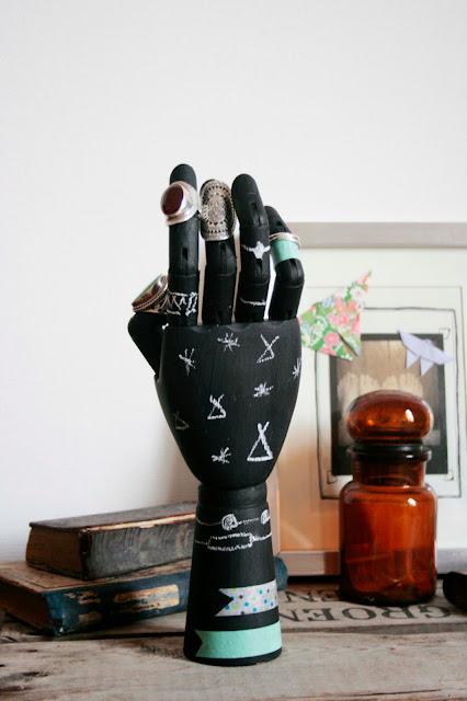 mon ampersand une main ardoise pour ranger ses bagues. Black Bedroom Furniture Sets. Home Design Ideas