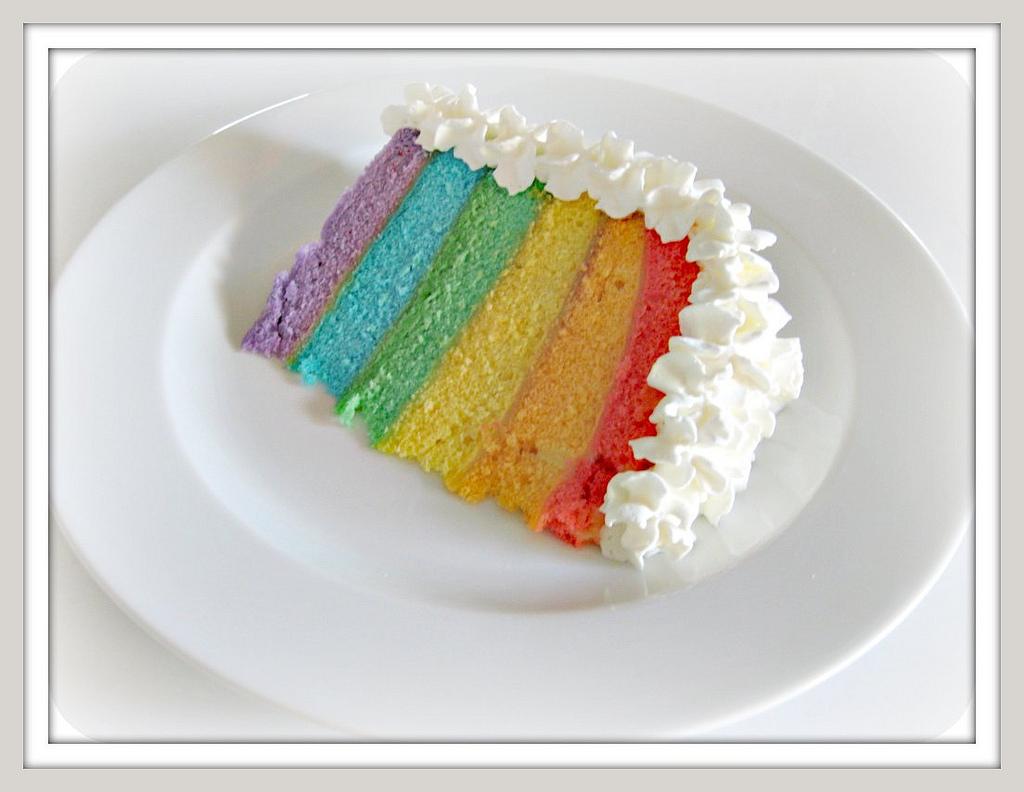 Images For Rainbow Cakes : Rainbow Layer Cake Recipe   Dishmaps