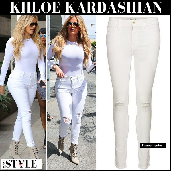 Khloe Kardashian in white ripped knee frame denim skinny jeans streetstyle celebrity fashion