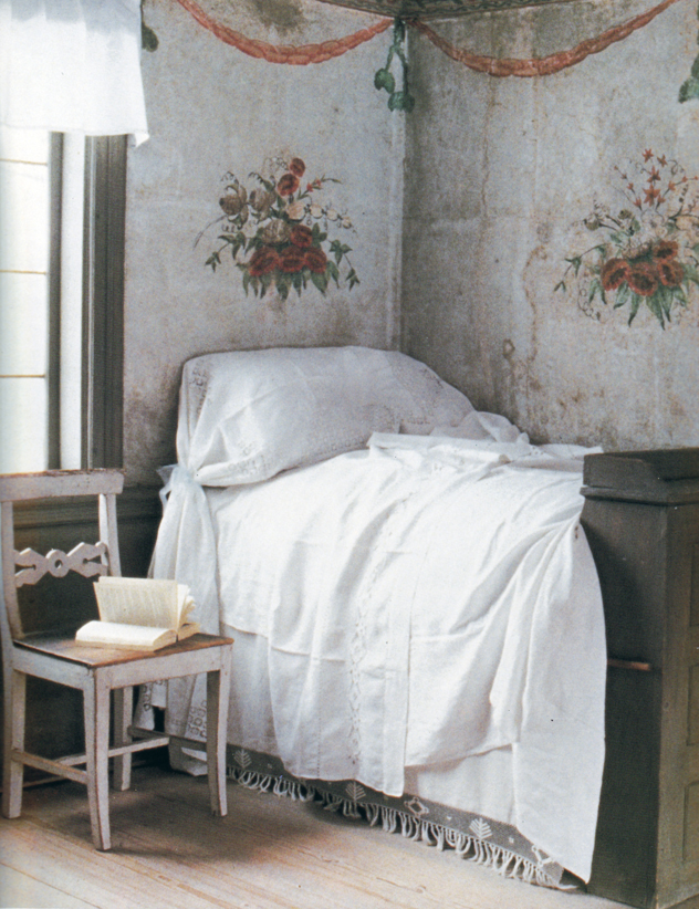 Above images  Pretty Scandinavian bedroom scanned from BOOK  The Perfect  Country Cottage by Bill Laws. The Paper Mulberry  Delft Blue  Gustavian Grey