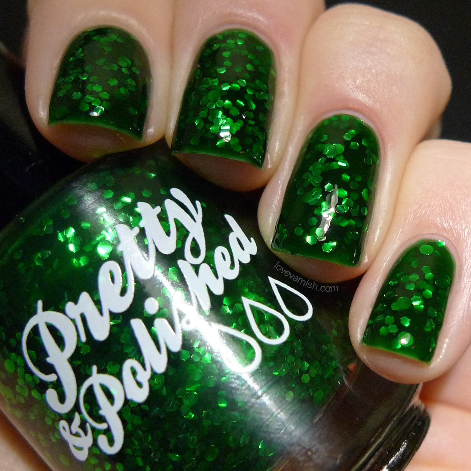 Pretty & Polished Dresden Doll Diamond green jelly glitter