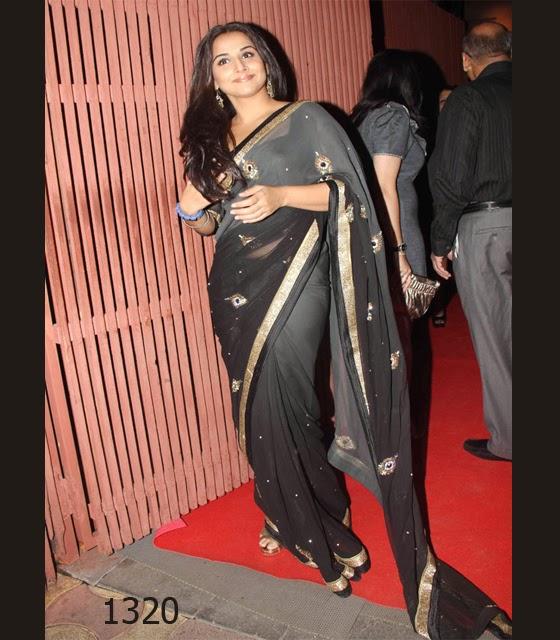vidya balan in stunning black saree
