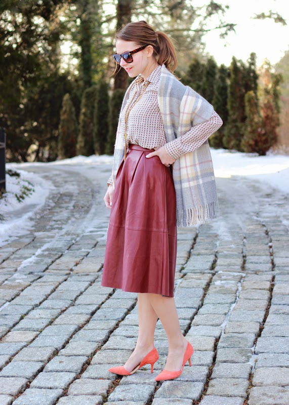 The Steele Maiden: Marsala Leather Midi Skirt with Coral Suede Sole Society Heels