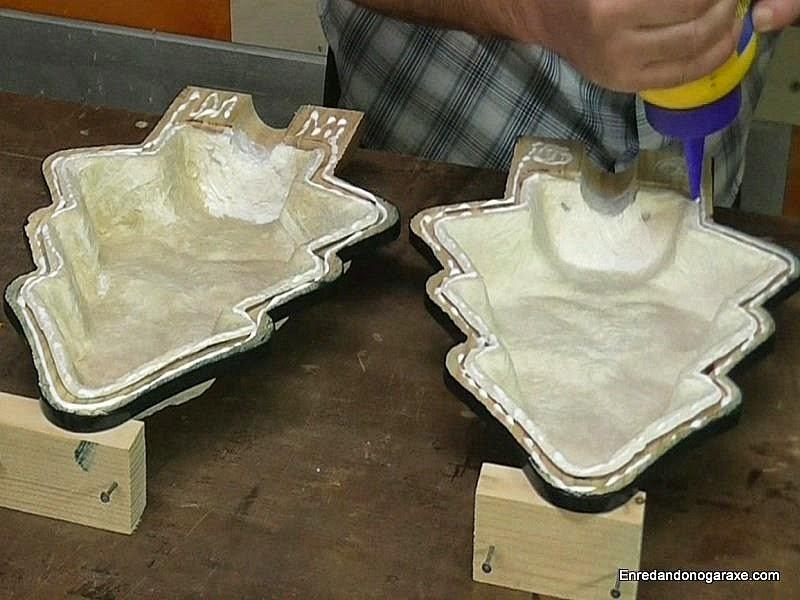 Encolar las partes de la lámpara. Enredandonogaraxe.com