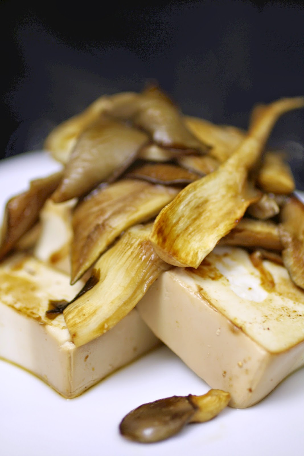 Home grown oyster mushrooms with griddled tofu.  I wanted the mushrooms to be the star of the dish so used a simple marinade for the tofu using soy sauce, miso paste and sesame oil.
