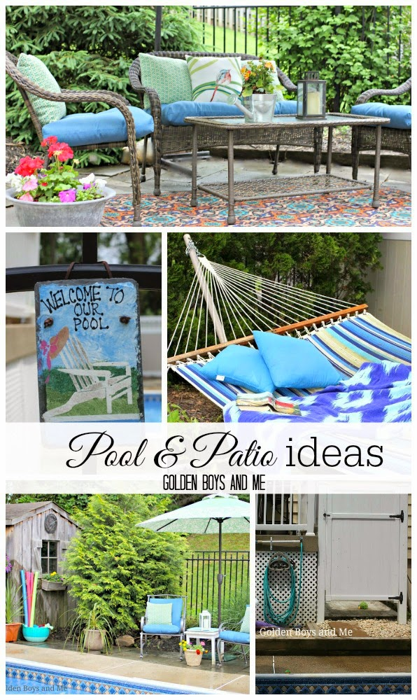 Pool and patio ideas featuring Lowes Garden Treasures Severson all weather wicker-www.goldenbooysandme.com