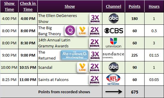 Viggle Schedule Nov 21, 2013