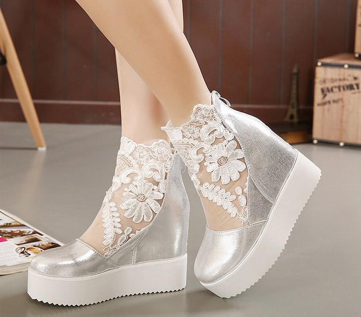 Wedding shoes wedges silver the image for Heels for wedding dress