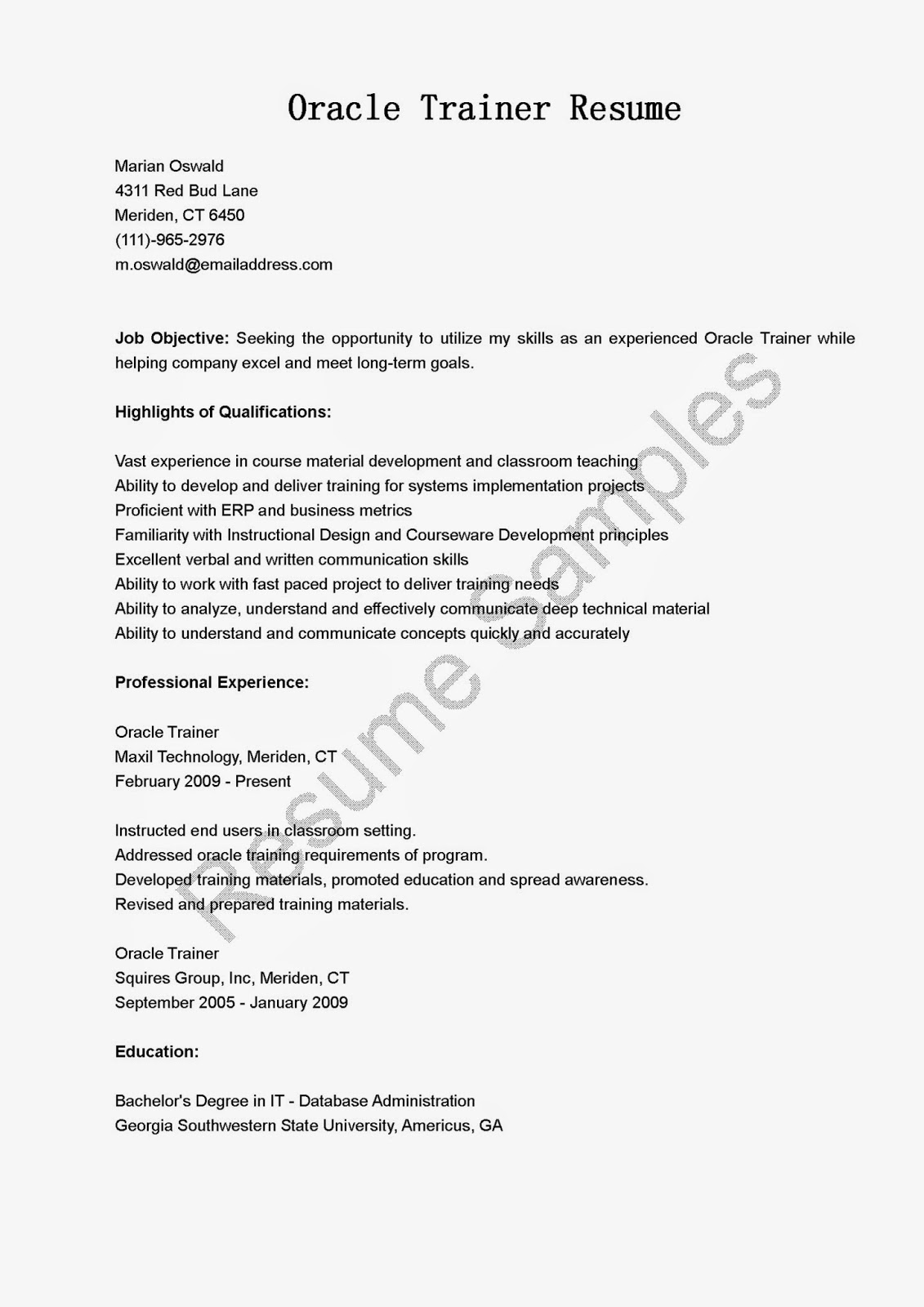 oracle resume