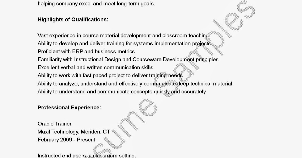 Oracle skills resume