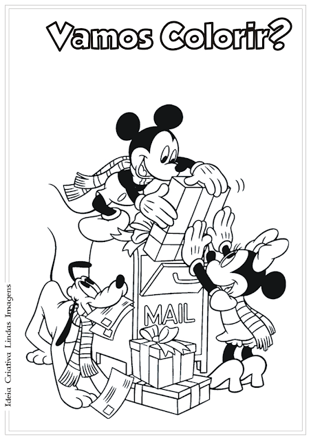 Mickey e Minnie presente de Natal desenho para colorir