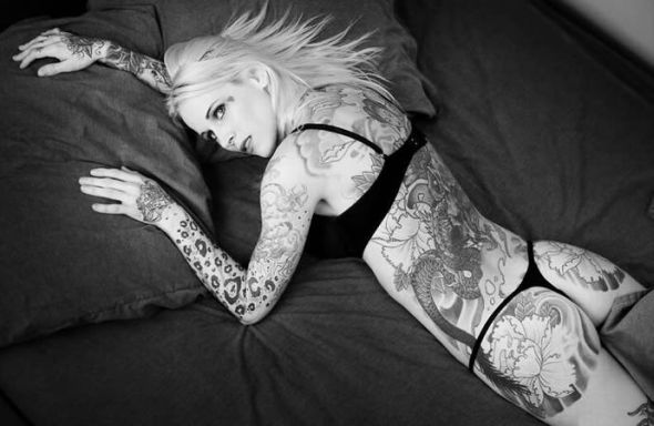 White Pride Tattoos. Tattooed Girl with Full