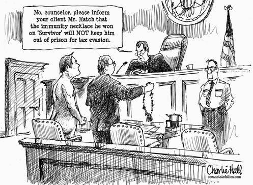 """""""Nie, panie adwokacie! Proszę poinformować swojego klienta, że zaczarowany naszyjnik który on zdobył w grze """"Survivor"""" w żadnym wypadku nie zwalnia go z płacenia podatków."""""""