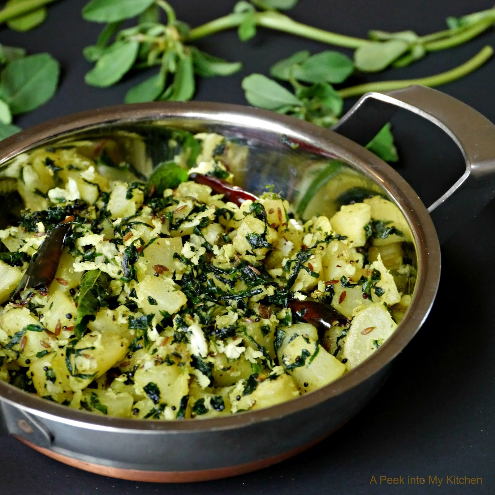 ... Kitchen: Sweet Potato and Fenugreek (Methi) Leaves Stir Fry ~ Day 21