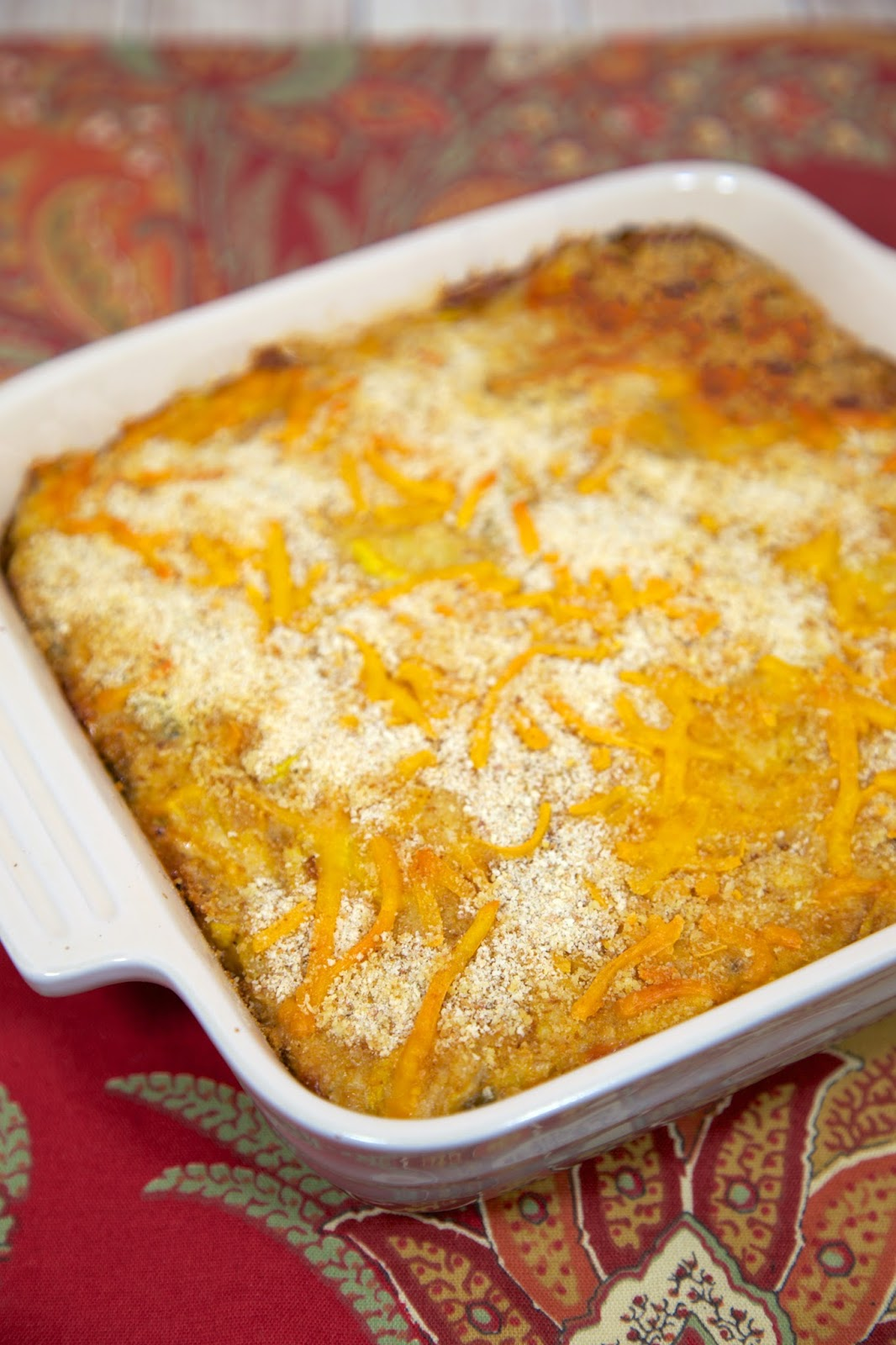 Squash Casserole - squash, peppers, onions, cheese - a family tradition at Thanksgiving! Can make ahead of time and refrigerate until ready to bake.
