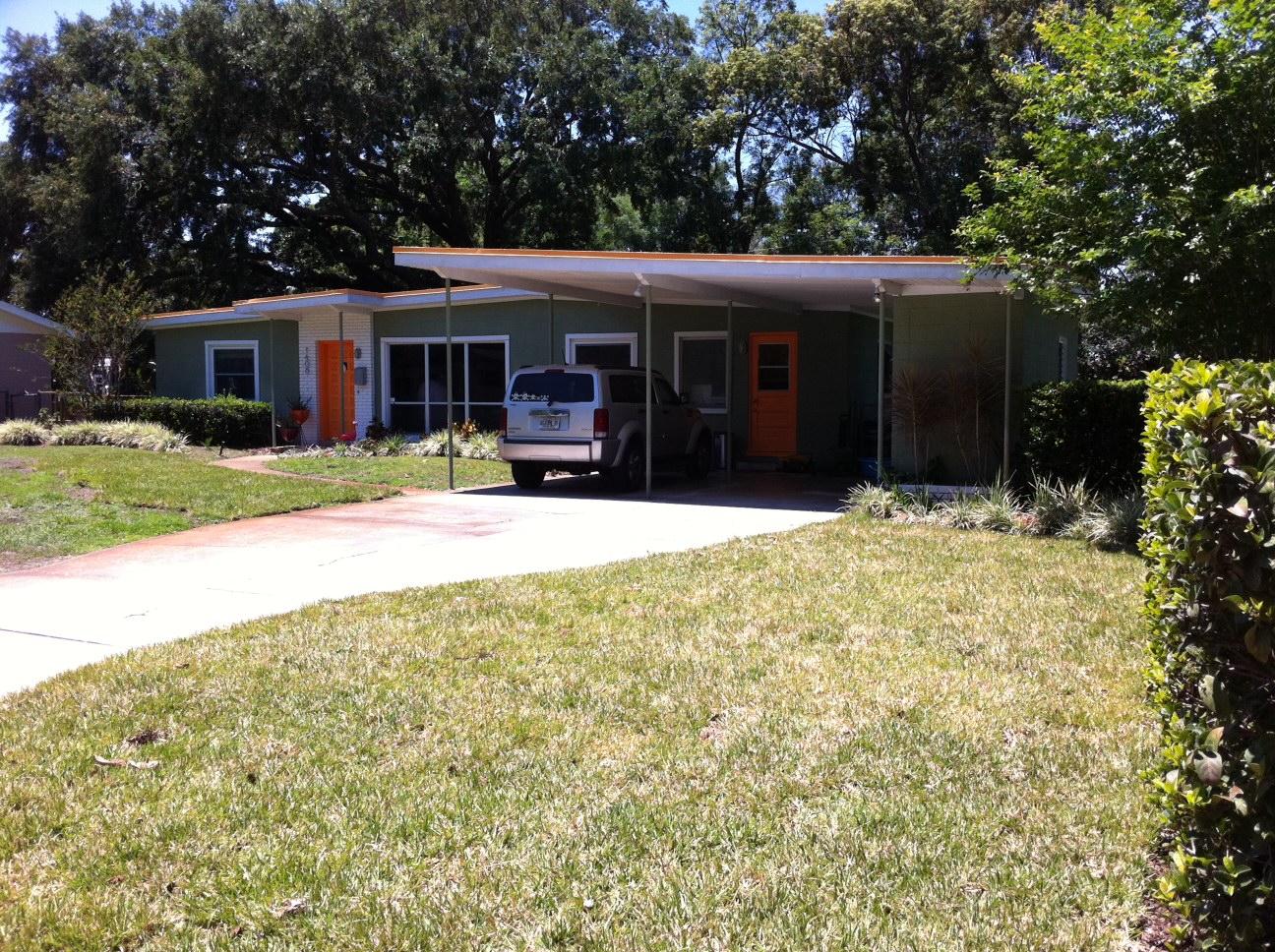 Retro Info We got grass Mid century modern home landscaping