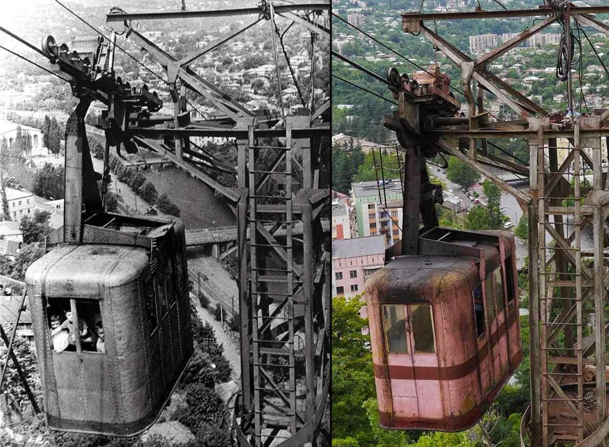 A infraestrutura básica, com exceções, ainda é a soviética. Teleférico em Chiatura, ontem e hoje na Georgia