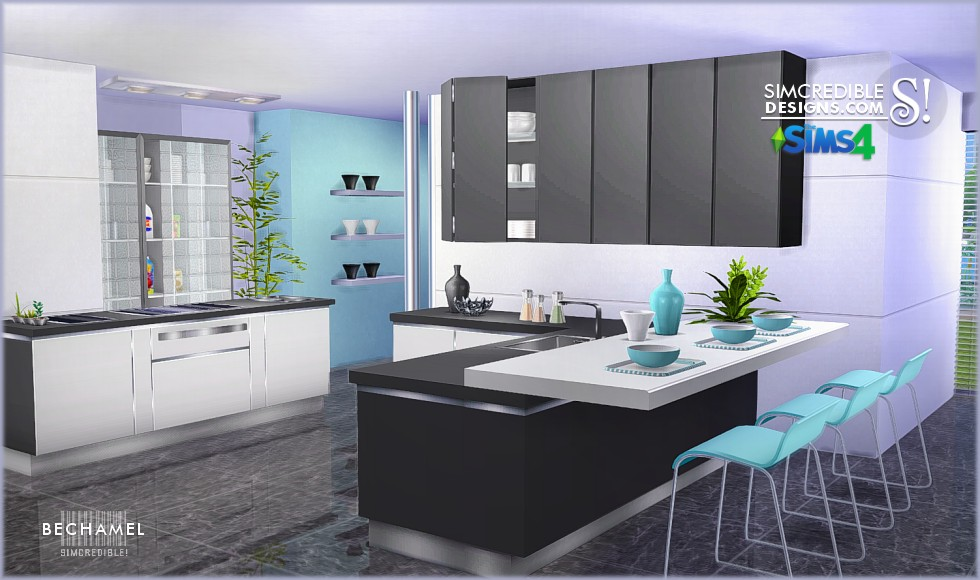 My sims 4 blog bechamel kitchen set by simcredible designs for Kitchen ideas sims 4