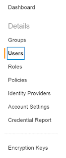 IAM Users Navigation
