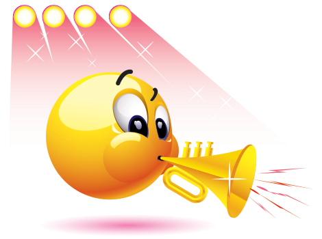 Emoticon playing trumpet