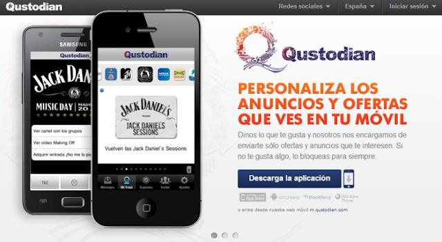 Qustodian (Ganar por recibir ofertas en el teléfono móvil)
