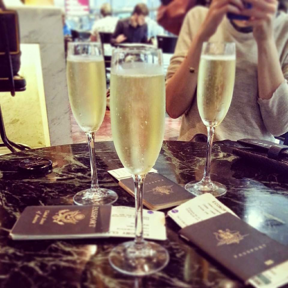 Champagne passports holiday vacation new york travel trip