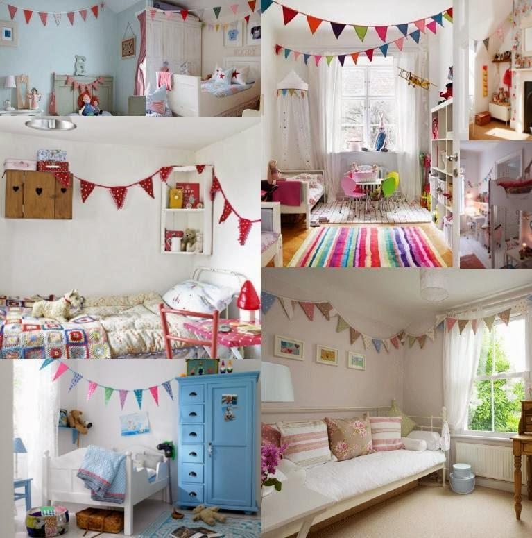 Dormitorios infantiles decorados con banderines