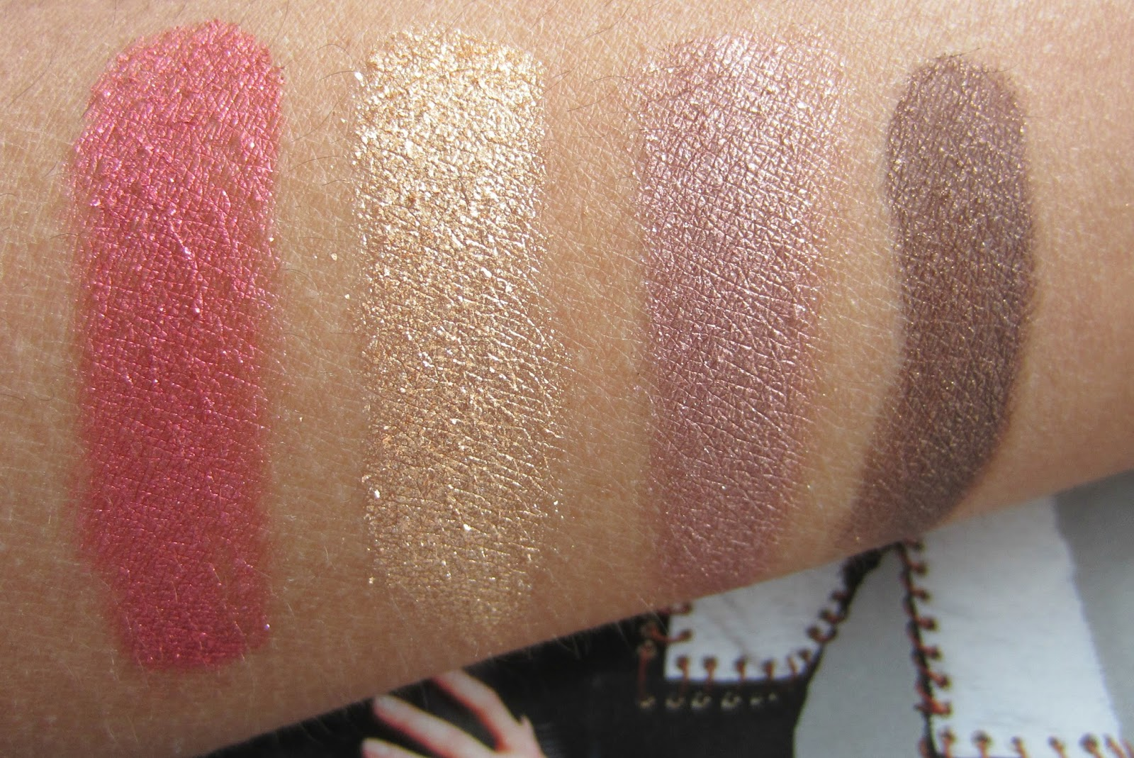 Milani Baked Eyeshadows in I heart You, Drench In Gold, Fusion, Rich Java wet swatches