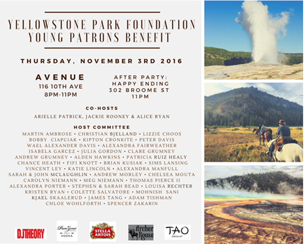 SAVE THE DATE: Yellow Stone Park Foundation Young Patrons Benefit
