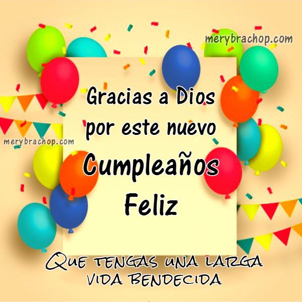 Tarjeta cristiana de agradecimiento por tu cumpleaños, frases cumple, imagen con frases de cumpleaños por Mery Bracho