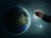 para 2030 incluso dos planetas . manos pintadas con el mundo