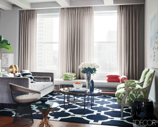 ... play the space up with a graphic patterned rug. A bold graphic pattern  will instantly play up the room, just look at the pictures below for  inspiration.