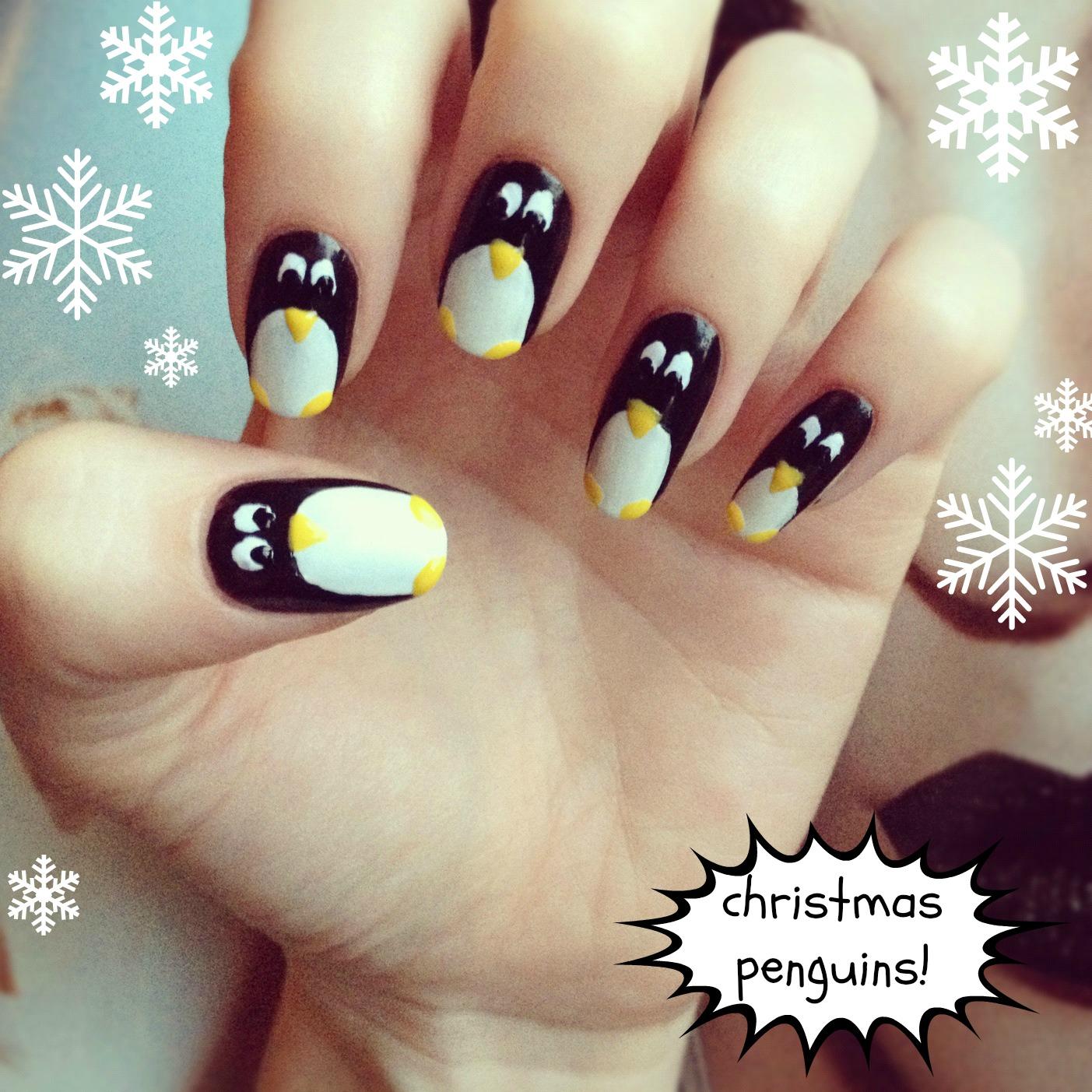 christmas nail art! festive penguins: | BURKATRON