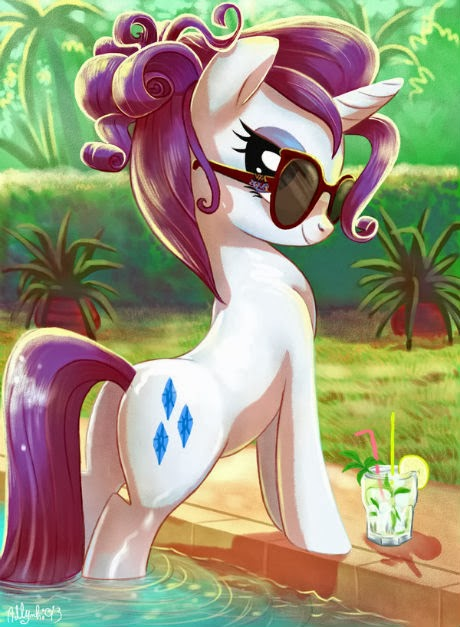 Rarity is having some pool time with her mojito