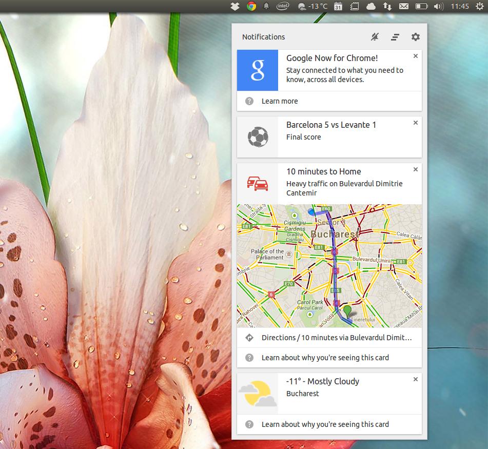 Google theme ubuntu - Chrome Notification Center With Google Now Cards On Ubuntu