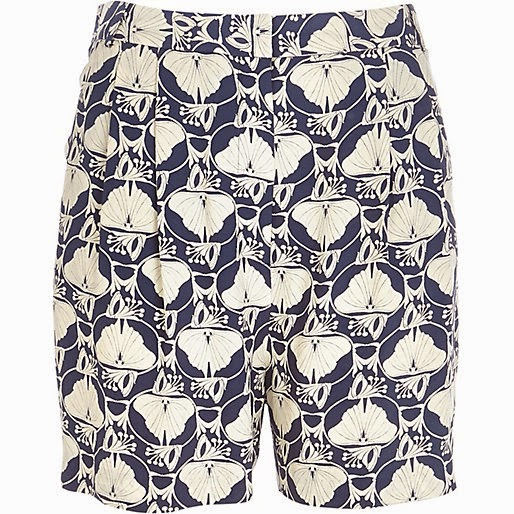 river island blue shorts