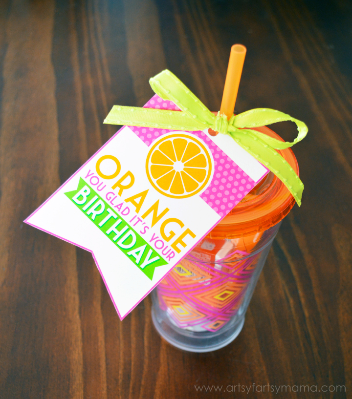 """Orange You Glad It's Your Birthday"" Gift Idea and Free Printable Tag at artsyfartsymama.com #birthday #birthdaygiftidea"