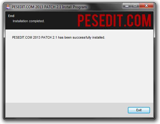Proses instalasi PESEDIT.COM 2013 Patch Berhasil