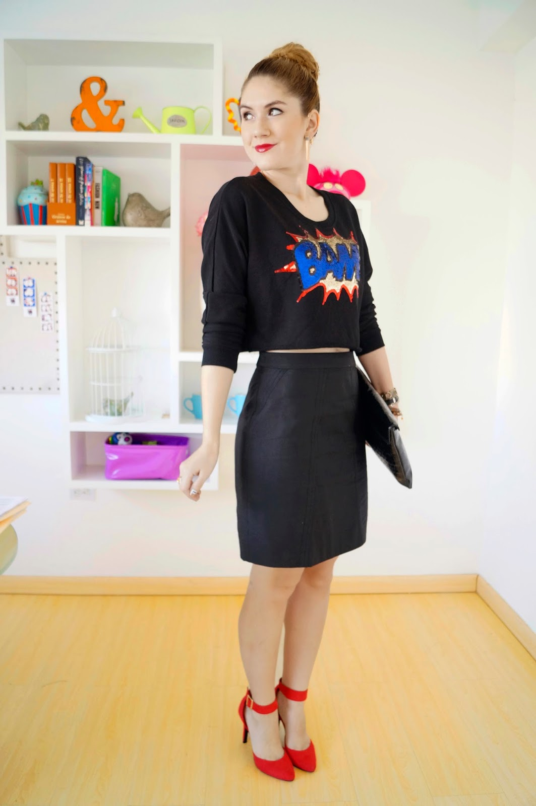 Pop Art Outfit, Pop Art Trend, Summer 2014 Trend, Fashion Blog, Trendy Outfit 2014, Pencil Skirt Outfit, Forever 21 Sweater, Asos Shoes