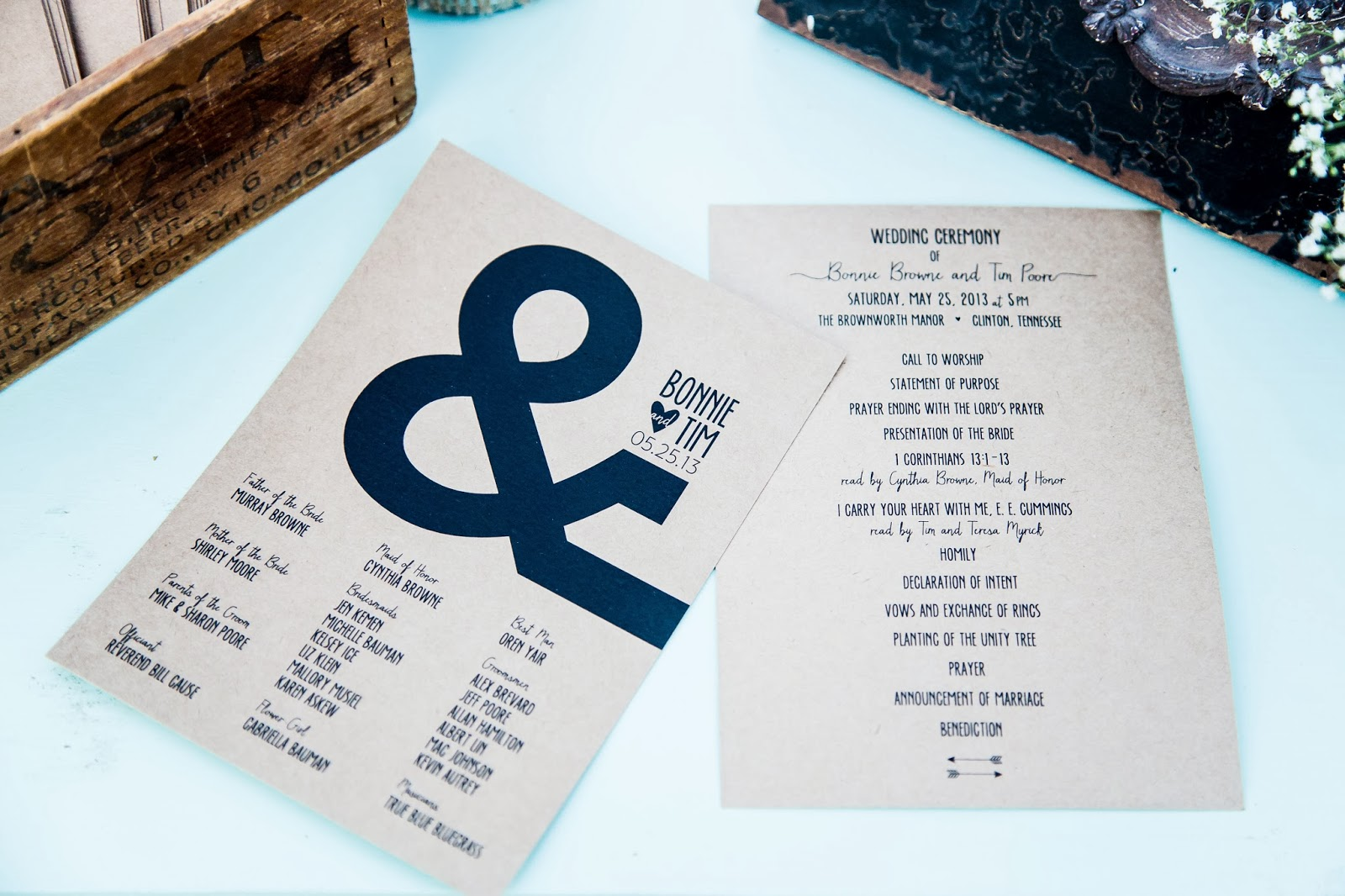 wedding invitation, ampersand, brown paper, mint green