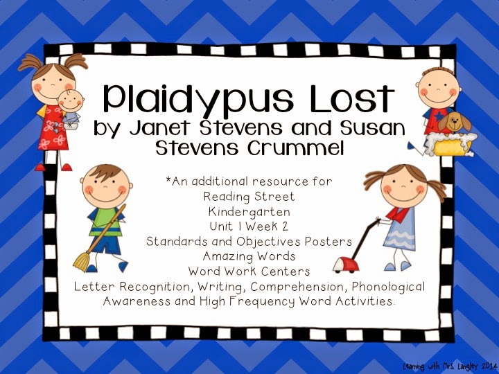 http://www.teacherspayteachers.com/Product/Plaidypus-Lost-Kindergarten-Unit-1-Week-3-1238629